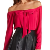 BOW-FRONT OFF-THE-SHOULDER TOP