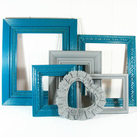 Upcycled Frame Set Wall Collage Grouping Dark Blue Gray 6 Frames