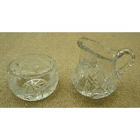 Etched Crystal Cream and Sugar Set