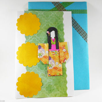 Origami Greeting Oriental Themed Card Card Chiyogami Japanese Paper Handmade Decorative Great for All Occasions All Ages