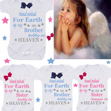 Worth the wait Heaven brother/sister with name & bow 1 x bodysuit or 1 x T-shirt or 2 x white bibs or DESIGN YOUR OWN