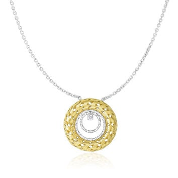 14K Two-Tone Gold Diamond Embellished Textured Circles Necklace