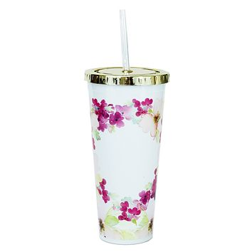 Straw Tumbler Floral Pink 24oz - Mary Square