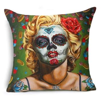 Pillowcases Home Decoration Marilyn Monroe Skull Flower Print Pattern Square Linen For Sofa Seat Cushion Cover Decorative