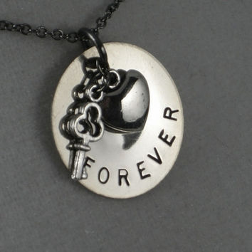 KEY to my HEART FOREVER - Celebrate Love - Valentine Necklace - Love Jewelry - 18 inch gunmetal chain