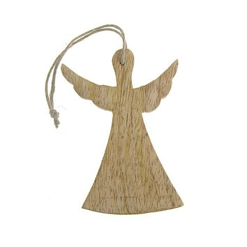 Hanging Wooden Angel with Wings Christmas Ornament, Natural, 4-Inch
