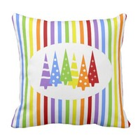 Rainbow Trees and Stripes Pillows