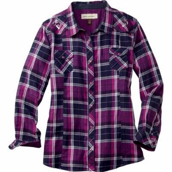 Bit & Bridle™ Ladies' Long-Sleeve Embroidered Yoke Flannel Western Shirt