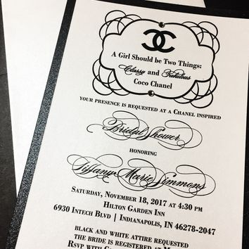 Bridal Shower Invitation; Chanel Inspired Bridal Shower Invitation; TIFFANY version