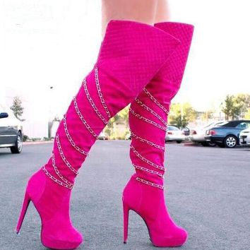 Chain Straps Over The Knee Boots High Platform High Heel Boots