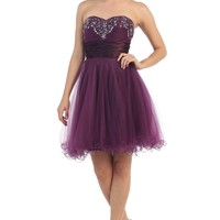 Sparkling Fun and Flirty Short Strapless Eggplant Homecoming Dress