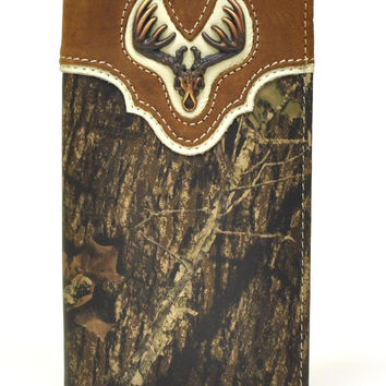 Nocona Rodeo Genuine Leather Camo Western Men's Wallet w/ Buck Concho-N54318222