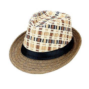 Beatnix Fashions Brown Plaid Check Straw Fedora Hat
