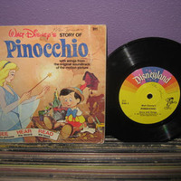 "Vinyl Record Album Disney's Pinocchio Book and Record 7"" LP 1977 Children's Classics"