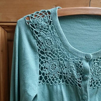 Ladies vintage crochet cardigan sweater cable knit sage green small 10 8 lace floral womens boho folk clothes clothing Dolly Topsy Etsy UK