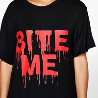 Plus Lexi Halloween Slogan T-Shirt Dress | Boohoo