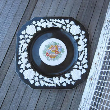 "Striking Antique Square Black Plate w/ Embossed White Flowers & Colorful Floral Center; George Jones 'Rhapsody Crescent' 8 1/2"" Lunch Plate"