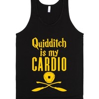 Quidditch Is My Cardio-Unisex Black Tank