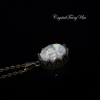 Tiny Swarovski White Fire Opal Necklace - Opal Jewelry - Opal Pendant - Minimalist Bronze Necklace