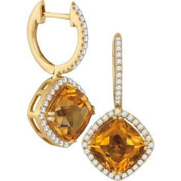 14kt Yellow Gold Women's Cushion Natural Citrine Diamond Dangle Earrings 5-1-3 Cttw - FREE Shipping (US/CAN)