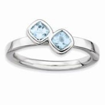 Sterling Silver Db Cushion Cut Aquamarine Ring