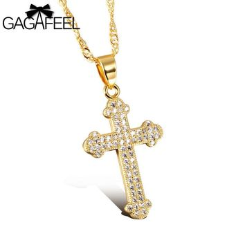 Fashion AAA Zircon Crystal  Gold Color Jewelry Stainless Steel Women Men Man  Cross Pendant Necklace Gold Bless Lucky Gift N630
