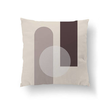 Circle Pillow, Brown Pastel Decor, Home Decor, Cushion Cover, Geometric Shapes, Nordic Style, Decorative Pillow, Simple Design, Throw Pillow