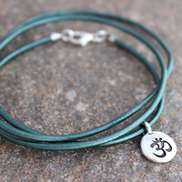 Teal Leather Wrap Bracelet Om Bracelet Meditation Om Jewelry, Soft Leather Bracelet, Wrap Around Bracelet, Yogini Yoga Bracelet, Yoga Gifts