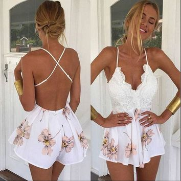 CREYYN6 2016 Summer Lace Rompers Women Jumpsuit New Fashion Retro V-neck Floral Print Fitted Jumpsuit Straps Short Overalls Bodysuit