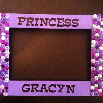 sequins purple princess frame, children, birthday, gift, paty favor, baby shower