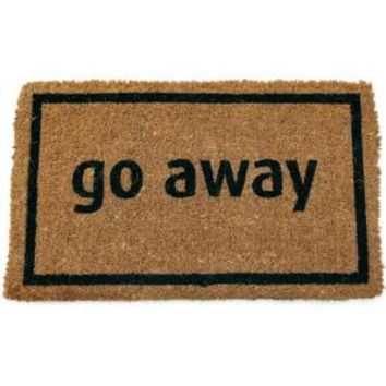Entryways, Go Away Black 17 in. x 28 in. Non Slip Coir Door Mat, P689 at The Home Depot - Mobile