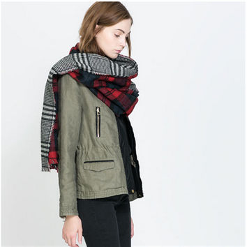 Cashmere Plaid Patchwork Double Sided Scarf (180*85cm) [9572848015]
