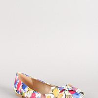 Qupid Floral Bow Round Toe Ballet Flat Color: White Multi, Size: 6.5