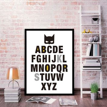 Colorful Letters Bat Nursery A4 Canvas Print Poster Superhero Bat Movie Cartoon Kids Room Wall Picture Painting Home Decor