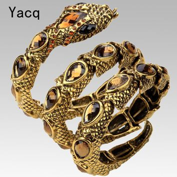YACQ Stretch Snake Bracelet Armlet Upper Arm Cuff Women Punk Rock Crystal Bangle Jewelry Antique Gold Silver Color A32
