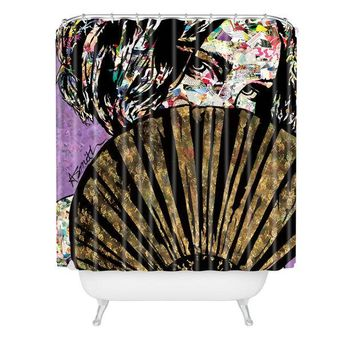 Playing Coy fashion collage shower curtain