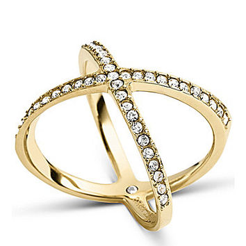 Michael Kors Pave Midi X Ring - Gold M