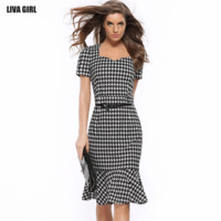 Chic New Summer Houndstooth Vintage office Lady Casual Dress Sweat-heart Neck bodycon Tunic formal Work Fit Wiggle Dresses