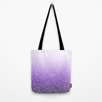 Ombre purple and white swirls zentangle Tote Bag by Savousepate
