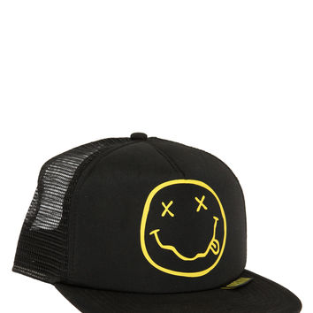 Nirvana Smiley Snapback Trucker Hat | Hot Topic