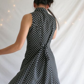 Vintage 90s black and white polka dot grunge mini dress tie back
