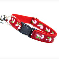 "Cat Collar - ""Holly Jolly Christmas"" - Holiday Candy Canes on Red Satin"