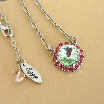 Swarovski crystal pendant necklace in 12mm green and pink, Cute summer bling with a GREAT PRICE