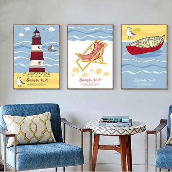 Modern A4 Art Print Poster Nordic Minimalist Wall Picture Cartoon Fish lighthouse Canvas Painting Kids Room Home Decor