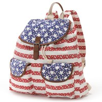 Candie's Floral American Flag Backpack (Red)