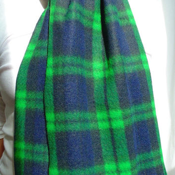Green Plaid Scarf, Tartan Fleece Scarf, Bright Green & Navy Blue, Winter Scarf, Mens Scarf, Womens Scarf, Oversized Scarf, Extra Long Scarf