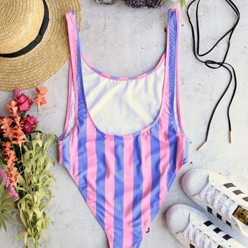 MOTEL - goddess one piece bikini - fairground stripe