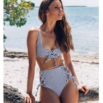 2018 new split swimsuit stripes high waist sexy bandage swimsuit bikini