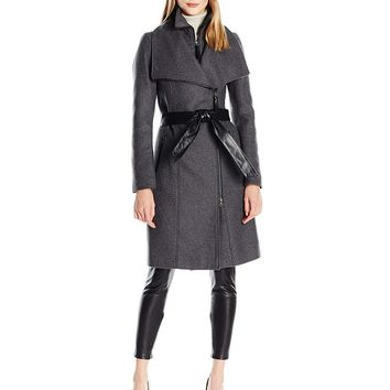 Mackage Women's Nori Wool Coat with Leather Belt