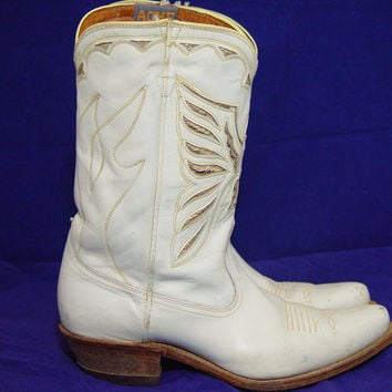 Vintage White Acme Eagle Boots Cowboy Cowgirl Western Gold Inlay Inlaid All Leather Tan Heels Sole Ladies 6.5